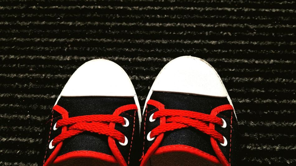 Shoe Pair Shoelace High Angle View Canvas Shoe Low Section Standing Day Outdoors People colorful Contrast Colors Close-up Ready To Go Out  Go Buddy Ready To Go Ready To Walk red Bright Colors Dark And Bright