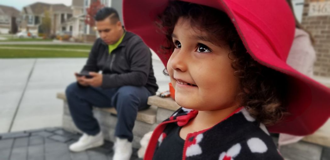 A happy, smiling, young preschool girl in a red hat looks up at someone talking to her with twinkling eyes Fall, Autumn, Leaves, Nature, Happy Casual Clothing Outdoors Girls Innocence Looking Females Portrait Child Childhood Cute, Kid, Eyes Preschooler, Red, Hats, Smiling, Happy, Girl, Portrait, Looking Up, Watching, EyeEmNewHere Sparkling Eyes Innocent Face Focus On Foreground Cute Red Color Hats