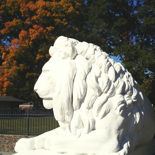 Autumn King Sculpture Lion Lion - Feline Lion King  Lion Statue Autumn Autumn Colors Autumn Collection Parkscapes Parks And Recreation Sculpture In The City Connected By Travel EyeEmNewHere