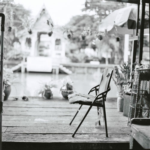 Klong Suan Market Chachoengsao Province Film Photography Focus On Foreground Klong Suan Market Lone Chai No People Old Market Outdoors Wood - Material Wooden