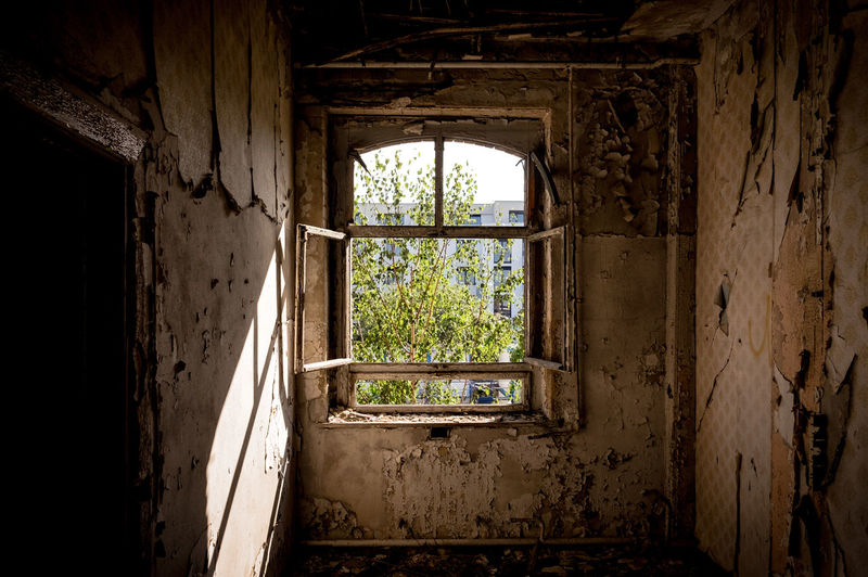 Open window of old building
