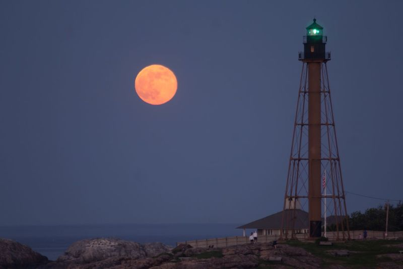 Full Moon Marblehead Lighthouse Sky Built Structure Tower Moon Architecture Nature Night