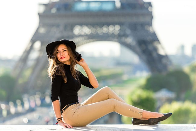 s City City Life Cityscape Eiffel Tower France Hat Plant Trocadero Blue Sky Eiffel Europe Girl Jean Long Hair Model Parisian Red Lips Red Lipstick Summer Sun Tower