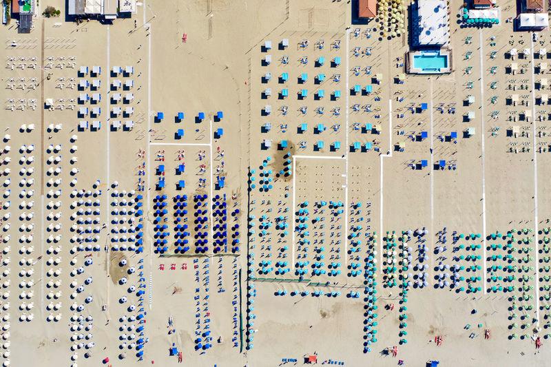 Aerial view of umbrellas at beach