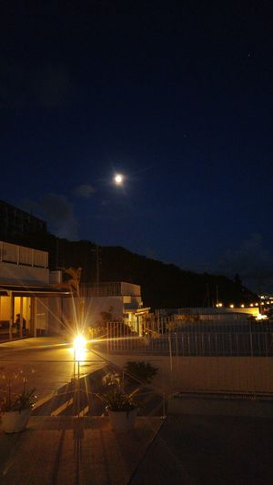 View of illuminated landscape at night