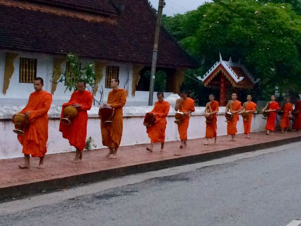 Hello World Luang Prabang Luang Prabang, Laos Monk  ALMS Alms Giving Alms Bowl Laos LaoStyle