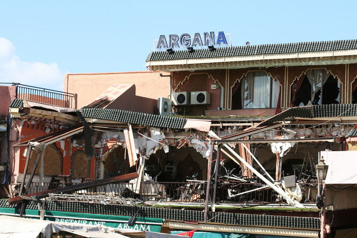 2011 After Bombing Architecture Argana Restaurant Built Structure Day Destroyed Jamaa El Fna Marrakesh Morocco No People Outdoors Sky Sunlight