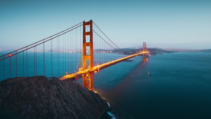 Golden gate bridge over sea against clear sky during sunset