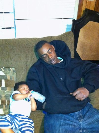 my daddy and my baby Boy Landen knocked out!!