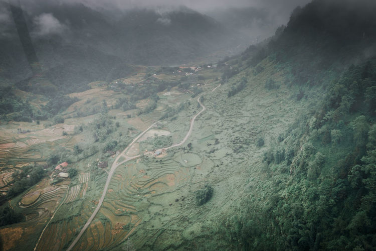 Sapa in winter Environment Landscape Aerial View Land Fog Scenics - Nature Nature Day Non-urban Scene No People Tranquility Beauty In Nature Mountain Tranquil Scene High Angle View Outdoors Water Physical Geography Forest Pollution
