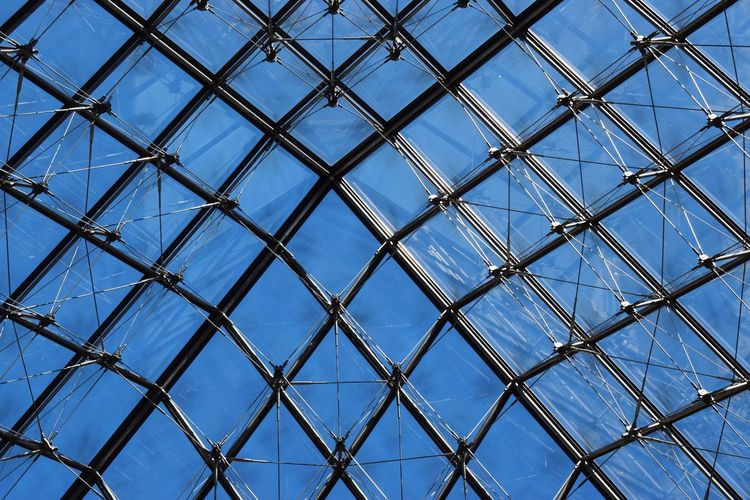 Louvre Metal Pattern Full Frame Backgrounds Protection Safety Day Close-up Sky Inspired Cultures Outdoors Architectural Feature Monument Travel Tourism France Paris LourveMuseum Lourve Glass Glass - Material Window Traveling Paris, France