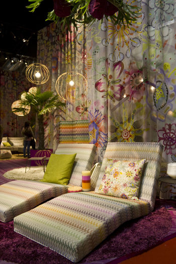 Missoni furniture set during the milanese design week in Milan on April 2015 Booth Decoration Design Fair Fashion Furniture Interiors Luxury Furniture Missoni Missoni Home  Pink Color Set