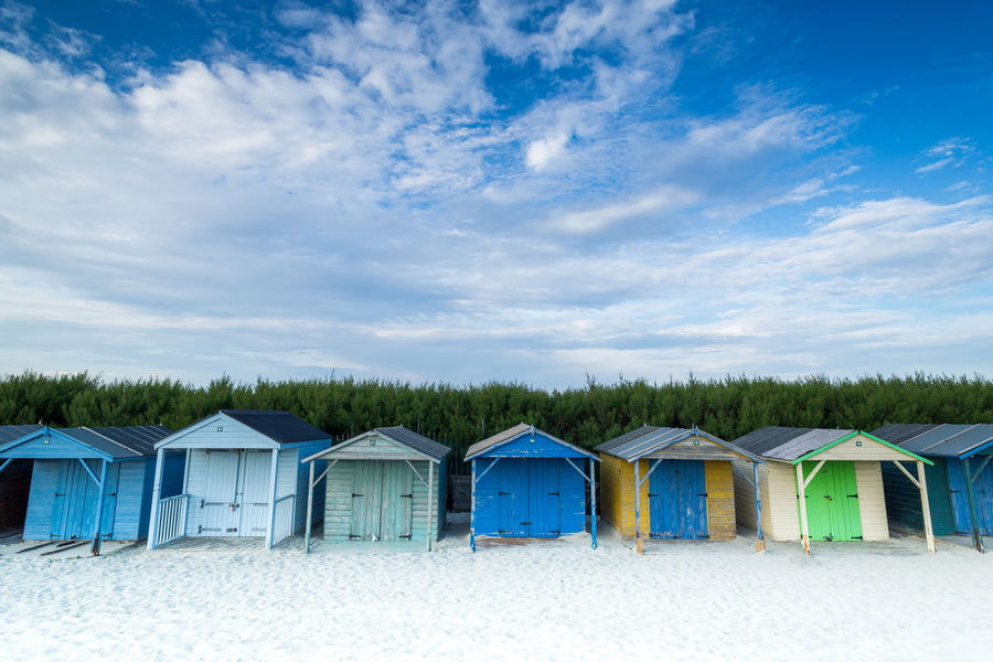 Architecture Beach Beach Hut Beauty In Nature Built Structure Cabin Cloud - Sky Cloudscape Day Hut In A Row Landscape Nature No People No People, Outdoors Sand Scenics Sky Summer Travel Uk Vibrant Colour West Sussex West Wittering