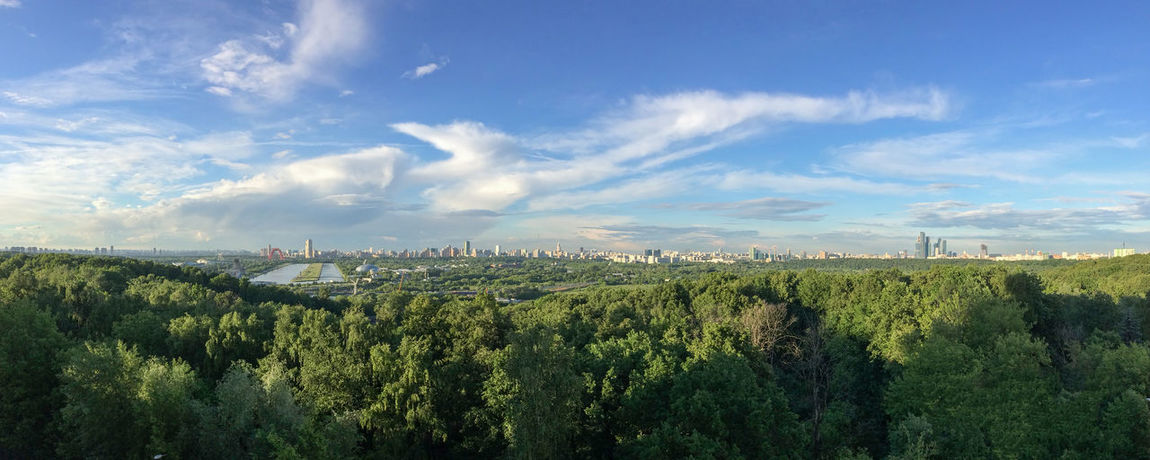 Panoramic view of Moscow. Krylatskoye District. Beauty In Nature Blue Sky Cloud - Sky Forest Green Krylatskoye Moscow Nature Panorama Panoramic Scenics Skyline Summer Sunset Tranquility Tree Wide Angle Rowing Canal