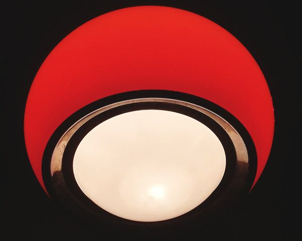 Circle Globe Lamp Light And Shadow Red Black White Inner Nightlife Night In The City Late Night Korova Metaxourgeio Athens