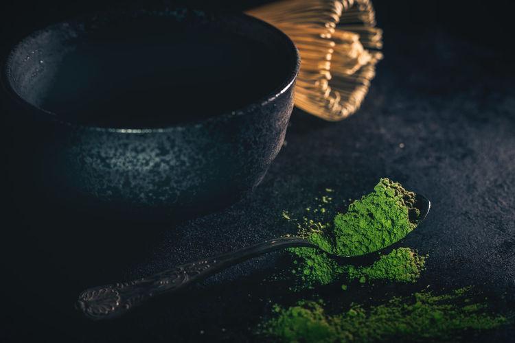Close-up of matcha powder