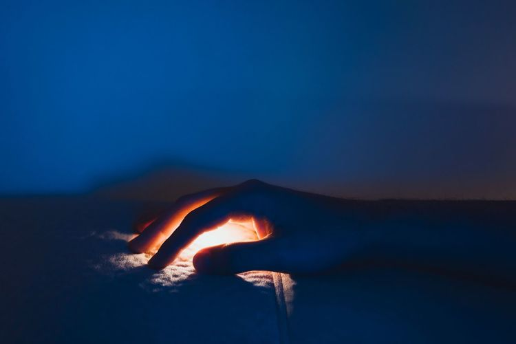 Hand Human Body Part Human Hand Illuminated Lights Light And Shadow Minimal Minimalism Fingers People Silhouette Heat - Temperature Night Capture Tomorrow Humanity Meets Technology