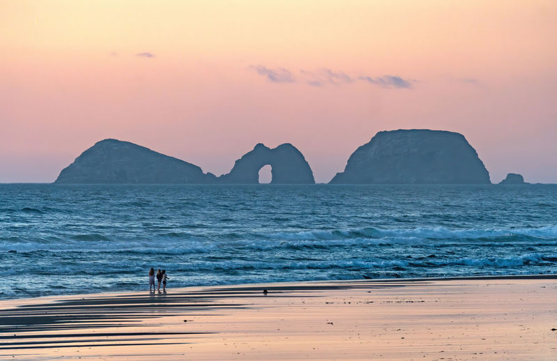 Twilight on the ocean coast at cape lookout state park in oregon