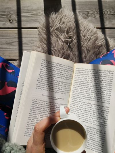 Sitting Reading Coffee Sun Speing Summer Book Outside Human Hand Drink Holding Table High Angle View Nail Polish Close-up Page