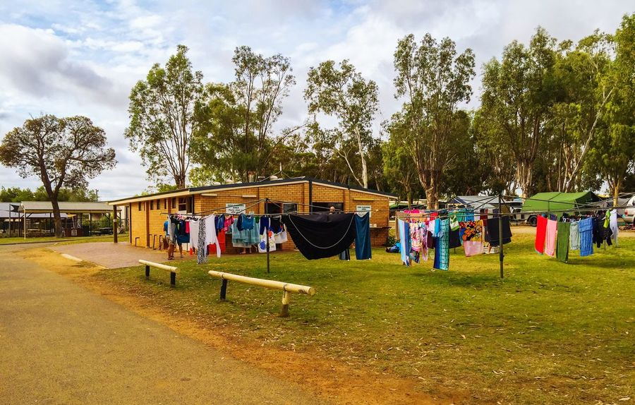 Camping Lifestyle Lifestyle Community Tudor Caravan Park Vacation Accomodation Travelling Holiday Western Australia Kalbarri Clothes Clothesline Caravan Park Camping Campground Travel Photography Sky And Clouds Outdoors Nature Washing Drying Drying Clothes Camping Lifestyle Trees Cleaning Washing Line