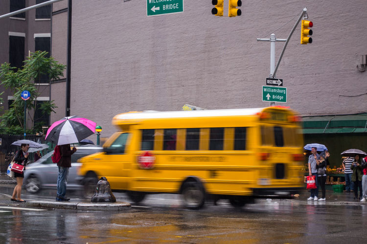 raining day in, NYC. Photographed by Cooper Billington. Colors Rain City Lifestyles Photo Photography Street Transportation Yellow Paint The Town Yellow