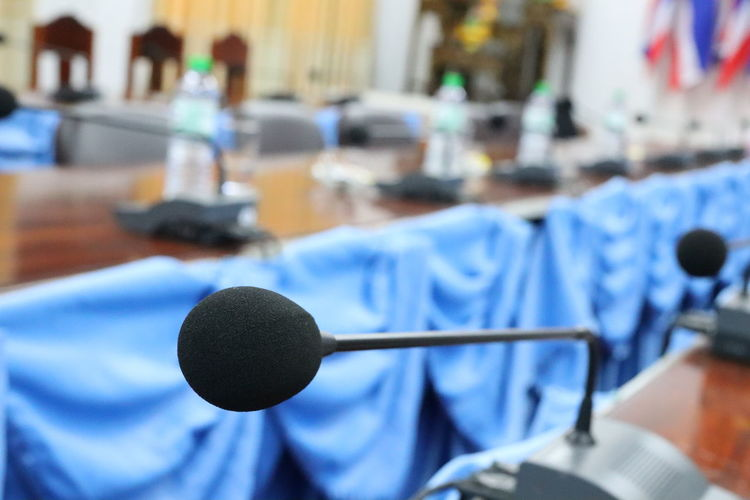 Close-up of microphone on table