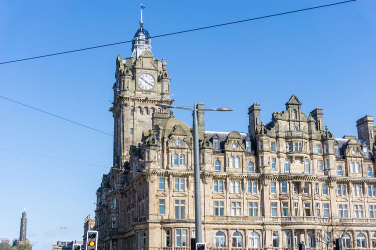 Low Angle View Of Balmoral Hotel Against Clear Blue Sky