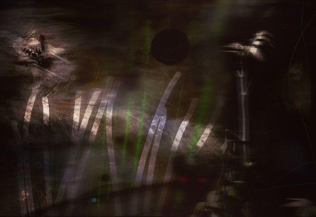 Time Inside Unsettled Interior Wasp Abstract Fine Art Moody Digital Painting Digital Art Illustration Green Stripes Dark