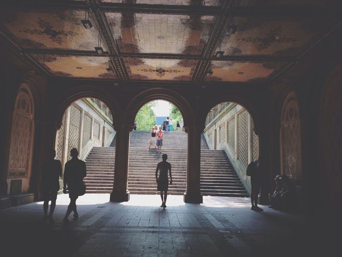 People At Bethesda Fountain Archway