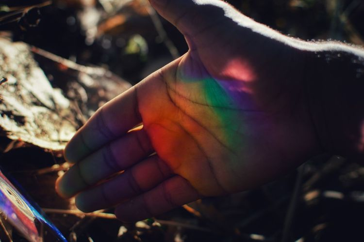Rainbow Colors LMAO Welcome The Week on EyeEm EyeEm Best Shots Light And Shadow Gay Colours Bisexuality One Person People Adult Multi Colored Adults Only Outdoors Only Women Day Men Young Adult Close-up Human Hand Human Body Part Nature Holi