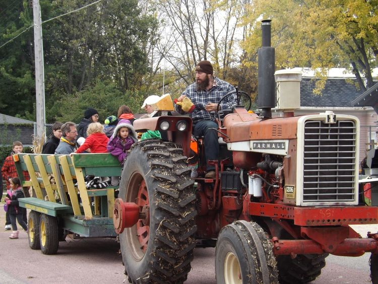 Daytime Lots Of People Crowd Farmer Pumpkin Festival Fall Fun Hayride Farmall Tractor Tractor