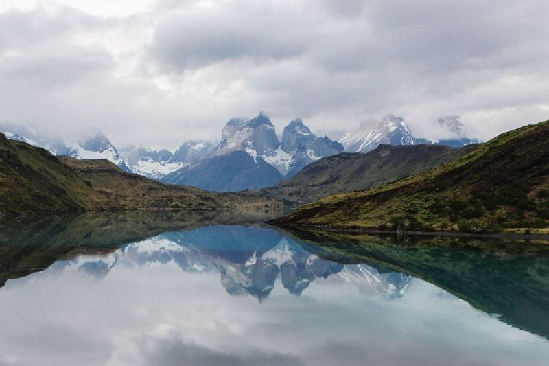 Los Cuernos Mountain reflection in Torres Del Paine National Park Patagonia Chile. Travel Patagonia Reflection Loscuernos Mountains Hiking