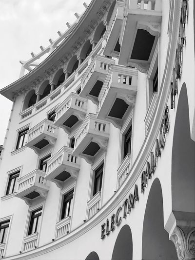 Architecture Low Angle View Built Structure Building Exterior History No People Window Spirituality Day Place Of Worship Outdoors Sky Blackandwhite Thessaloniki Hotel Aristotelous Square