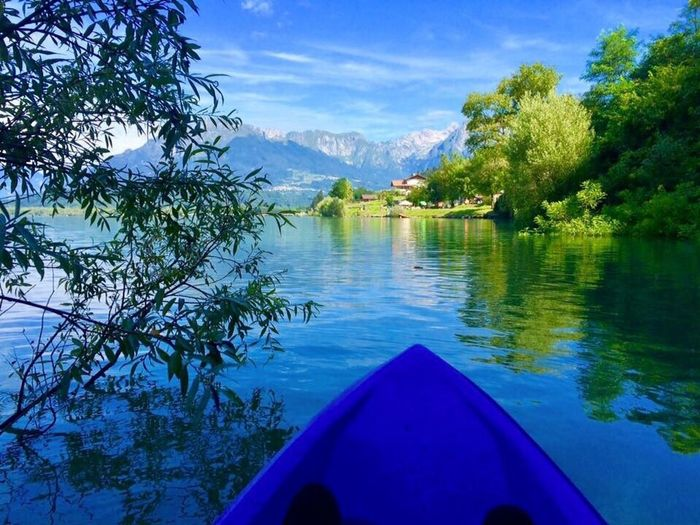 Water Tree Sky Kayak Tranquil Scene Tranquility Beauty In Nature Nature Day Scenics Mountain No People Lake Blue Outdoors Italy❤️ Veneto Italy
