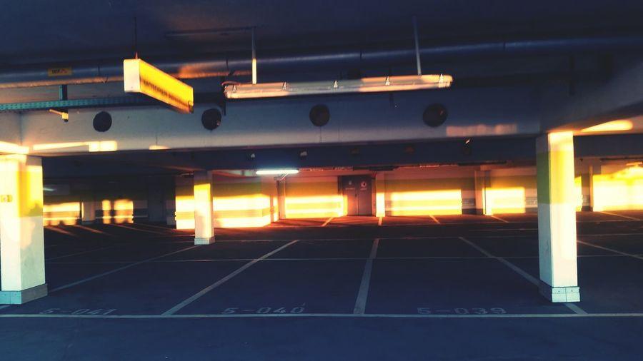 No People Architectural Column Built Structure Illuminated Parking Garage City Sunsetporn Sunsetphotographs Sunsetlovers Sunset Photography Parked Car No Cars  No Cars In This Picture Queue For Entering Berlinstagram Neuköllner Arkaden Neukölln Sunset