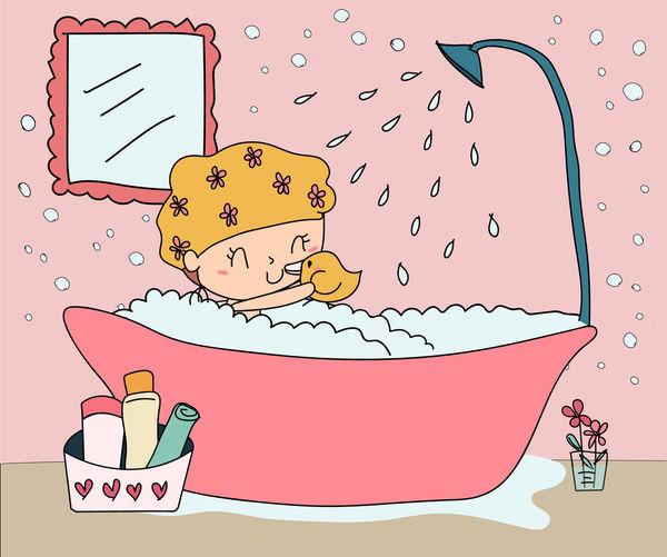 Digital Drawing Doodle Bathroom Bathtub Cartoon Character Drawing Girl Illustration People Pink Color Take Shower