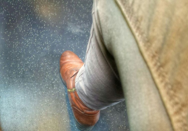 boring to sit in the train, that's why I took this picture. Legs Siting,waiting,wishing  In A Train Traveling Shoe