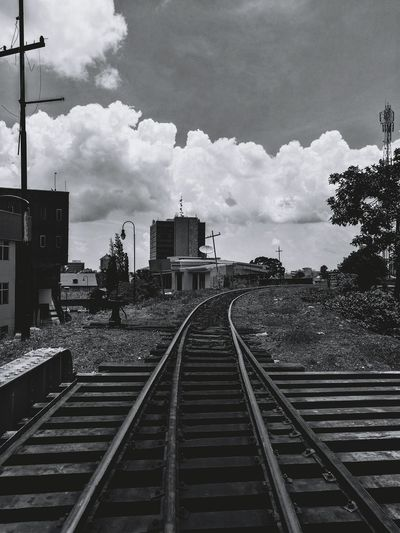 Railroad Track Cloud - Sky Outdoors Day Train Blackandwhite Clouds Clouds And Sky