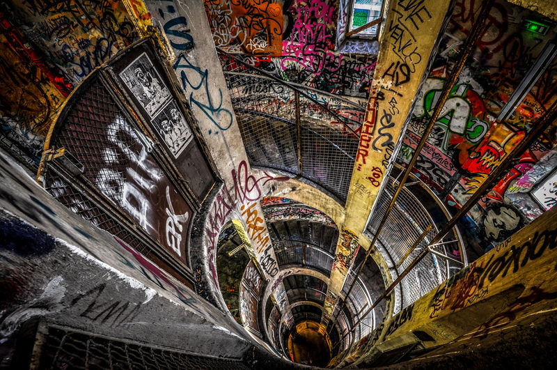 Abandoned Architecture Graffiti Indoors  Stairs Urban Exploration Urbex Wide Angle
