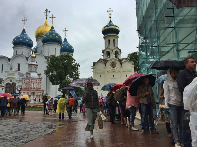 Pilgrims wait to enter a church at the Holy Trinity Lavra of St Sergius in Sergiyev Posad Church Traveling Rus2015tc Streetphotography