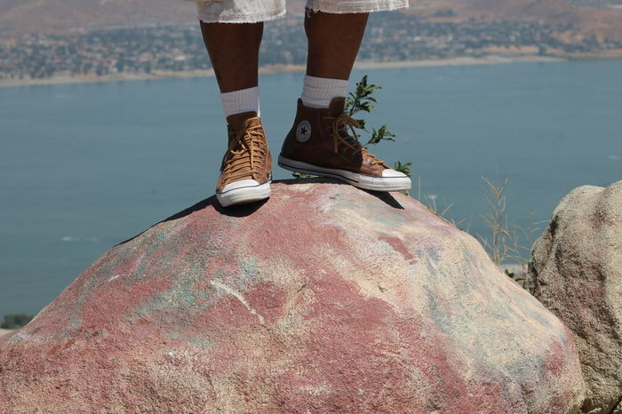 Lake Elsinore - Rock - High Top Sneakers - Legs Enjoying The View Lake Elsinore Something A Little Different Standing On Rock Beauty In Nature Close-up Human Leg One Person Shoe