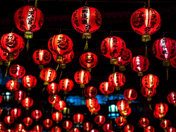 Celebration Chinese Lantern Chinese Lantern Festival Chinese New Year Decoration Event Festival Hanging Illuminated Lamps Lantern Large Group Of Objects Lighting Equipment Low Angle View Night No People Red Traditional Festival