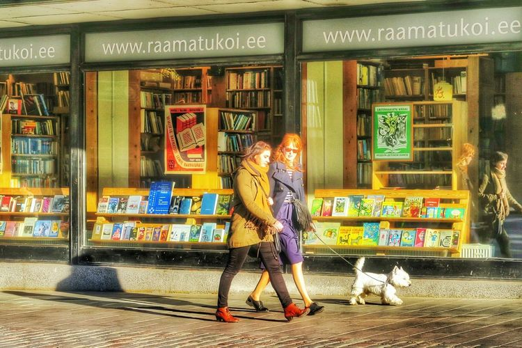 Double double walk the white dog. G7x Baltic Walking Around Steetphotography October2015 Tallinn Estonia People Watching Dog Walking White Dog city