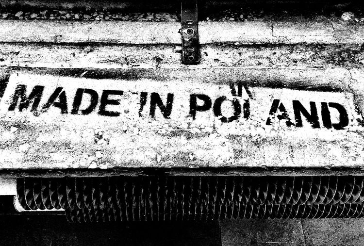 Radiator Blackandwhite Words Old Factory Prl Vintage Made In Poland Text Communication Day No People Close-up Architecture Textured