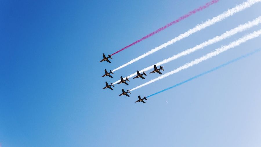 Low Angle View Of Airshow In Clear Blue Sky
