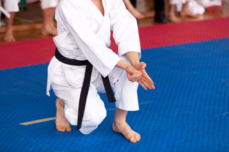 Low section of man practicing karate on carpet