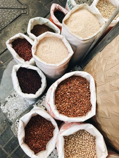 High angle view of spices in market