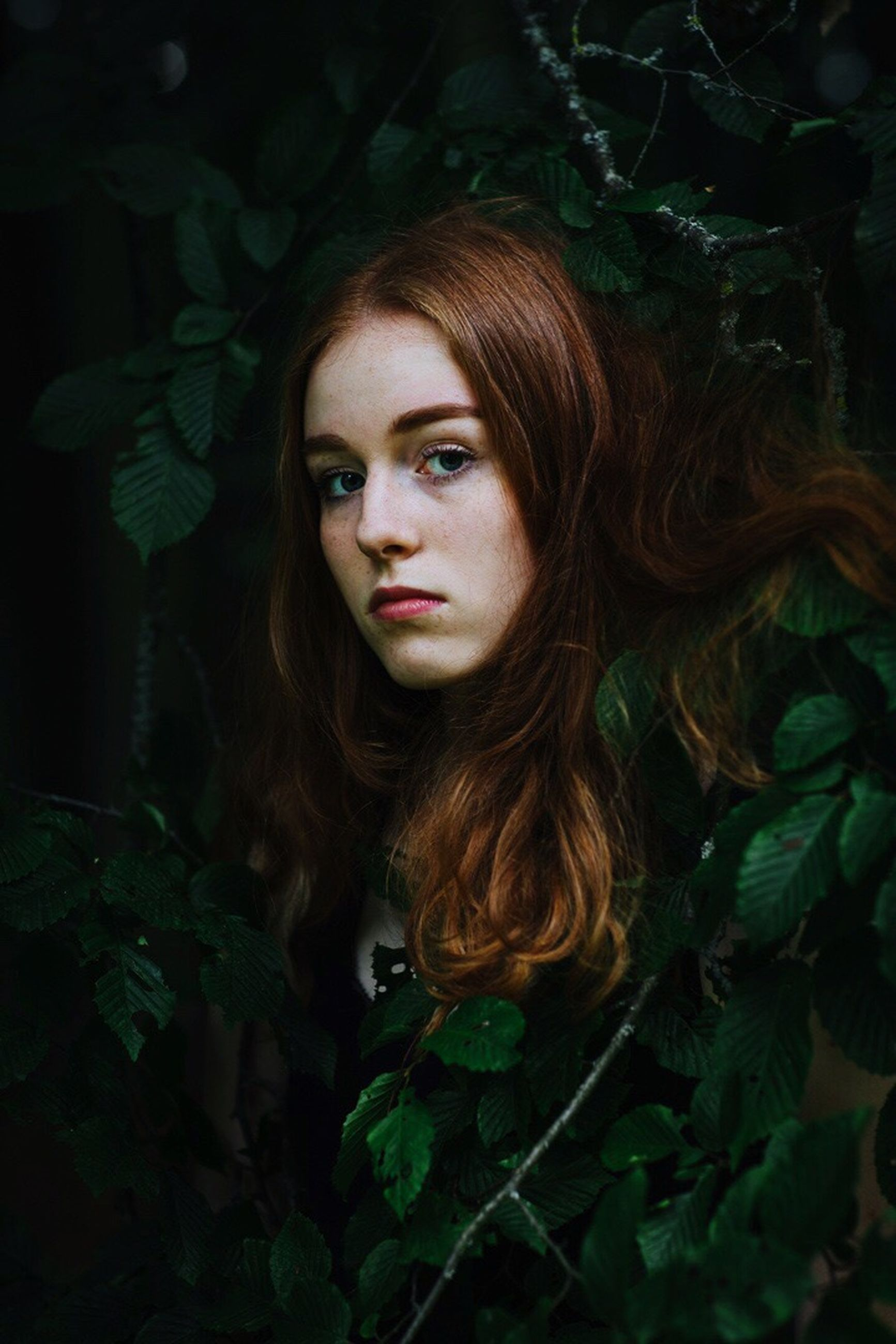 beautiful woman, redhead, young adult, leaf, serious, young women, beauty, one person, long hair, real people, green color, plant, looking at camera, nature, portrait, fern, forest, outdoors, women, one young woman only, day, close-up, adult, adults only, people