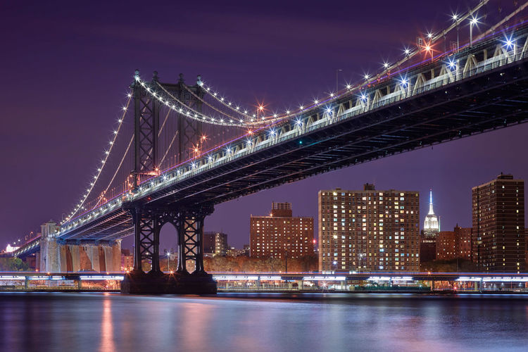 Bridge - Man Made Structure City Night Architecture Travel Destinations Sky Illuminated Built Structure River Cityscape Building Exterior Red Low Angle View Suspension Bridge Water Outdoors Downtown District Skyscraper No People Business Finance And Industry The City Light