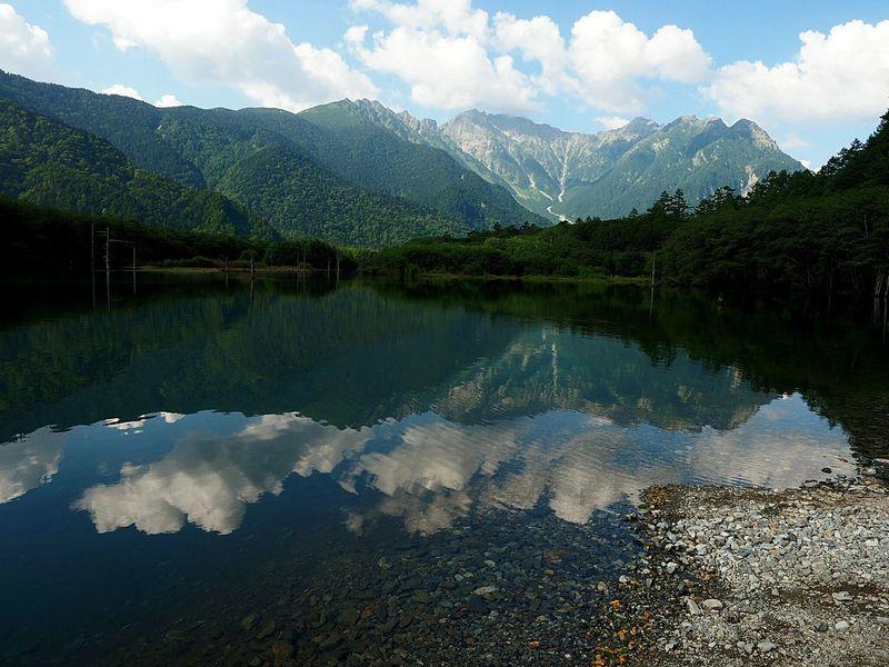 Hotaka Mountain Range Passing Such Fine Weather Taishoike Lakeside Views Of The Hotaka Mountain Range Of From Taishoike Lake Surface, Such As A Mirror Best Views Today Kamikouahi Japan